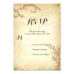 Vintage brown beige scroll leaf wedding RSVP 9 Cm X 13 Cm Invitation Card