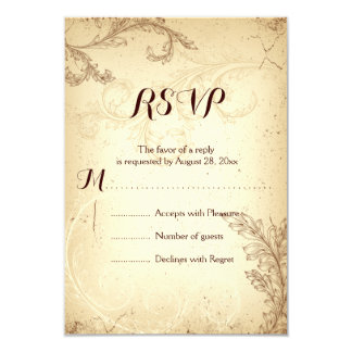 Vintage brown beige scroll leaf wedding RSVP Card