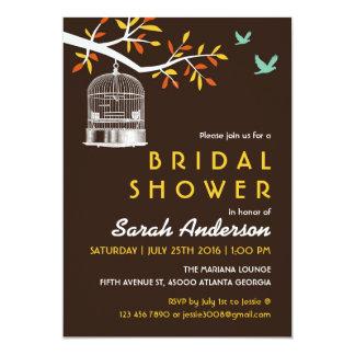 "Vintage Brown Bird Cage Bridal Shower Invitation 5"" X 7"" Invitation Card"