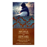 Vintage Brown & Blue Damask Lace Save the Date Photo Cards