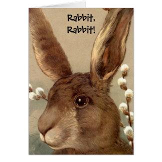 Vintage Brown Bunny Rabbit Rabbit Good Luck Card