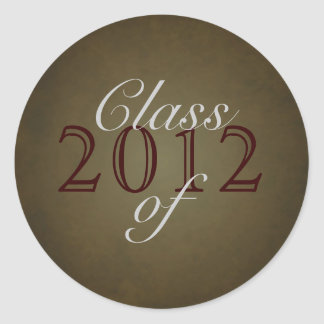 Vintage Brown Class of Silver Graduation Sticker