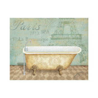 Vintage Brown French Bathtub Canvas Print