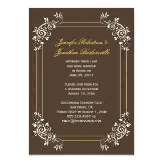 Vintage Brown Ivory Gold Swirls Post Wedding 13 Cm X 18 Cm Invitation Card