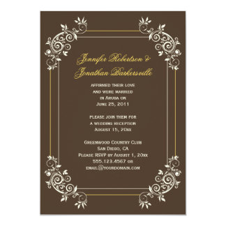 Vintage Brown Ivory Gold Swirls Post Wedding Card