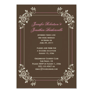 Vintage Brown Ivory Pink Swirls Post Wedding Card
