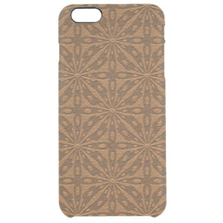 Vintage Brown Leather Geometric Pattern Clear iPhone 6 Plus Case