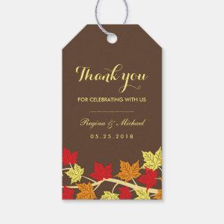 Vintage Brown Maple Leaf Autumn Wedding Gift Tag