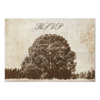 Vintage Brown Oak Tree Wedding Response Card 9 Cm X 13 Cm Invitation Card