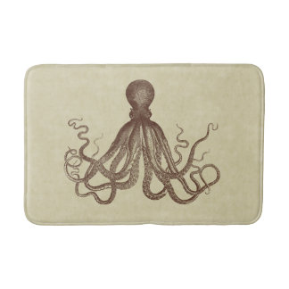 Vintage Brown Octopus Bath Mat