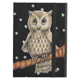 Vintage Brown Owl Necklace Crescent Moon Stars iPad Air Cover