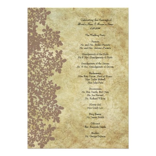 Vintage Brown Queen Ann's Lace Wedding Program Custom Invitations