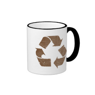 Vintage Brown Recycle Sign Coffee Mugs