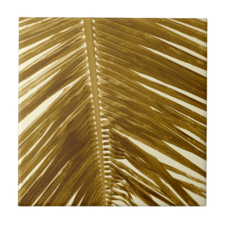 Vintage Brown Sepia Tropical Palm Tree Fronds Small Square Tile