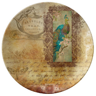 Vintage Brown Text and Turquoise Peacock Plate