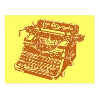 Vintage Brown Typewriter Postcard
