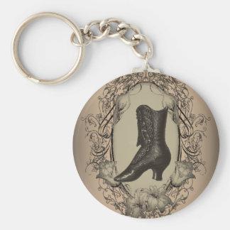 Vintage Brown Victorian  shoe  fashion Basic Round Button Key Ring