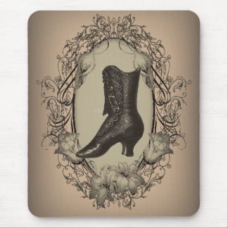 Vintage Brown Victorian shoe fashion Mouse Pads