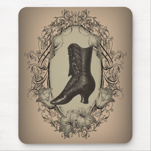Vintage Brown Victorian  shoe  fashion Mouse Pads