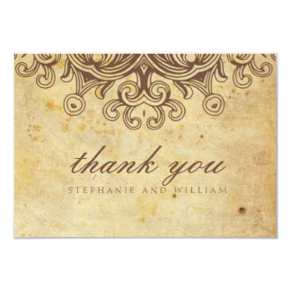 Vintage Brown Wedding Thank You Card 9 Cm X 13 Cm Invitation Card