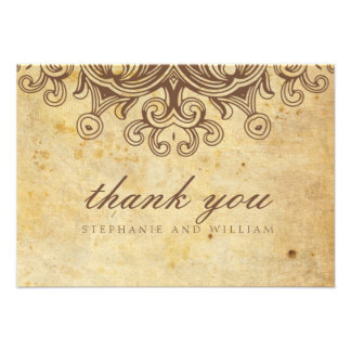 Vintage Brown Wedding Thank You Card Invite