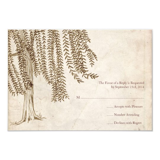 Vintage Brown Willow Tree Wedding RSVP Card