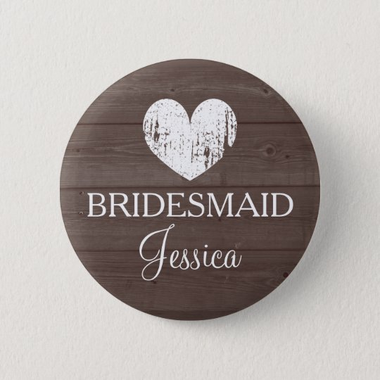 Vintage brown wood grain wedding bridesmaid button