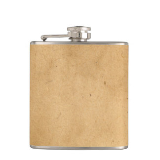 Vintage Brown Yellow Paper Parchment Background Hip Flask