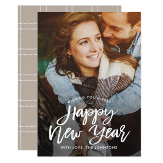 Vintage Brush EDITABLE COLOR New Year Photo Card