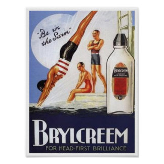 Vintage Brylcreem Be in the Swim Ad Posters