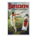 Vintage Brylcreem Man Playing Tennis Ad Posters