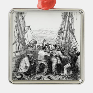 Vintage Buccaneers and a Shipwrecked Pirate Ship Silver-Colored Square Decoration