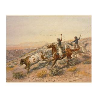 Vintage Buccaroos Charles Marion Russell Wood Print