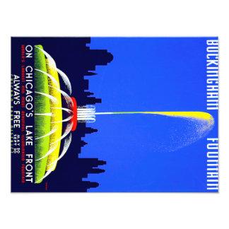 Vintage Buckingham Fountain Chicago WPA Poster Photo Print