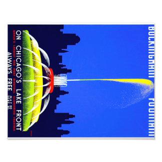 Vintage Buckingham Fountain Chicago WPA Poster Photo Art