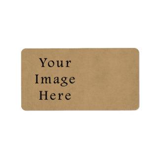 Vintage Buckskin Brown Parchment Paper Background Address Label