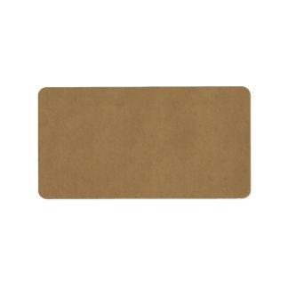 Vintage Buckskin Leather Brown Parchment Template Address Label
