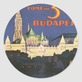 Vintage Budapest Hungary Classic Round Sticker