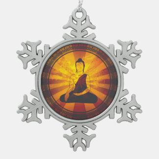 Vintage Buddha Snowflake Pewter Christmas Ornament