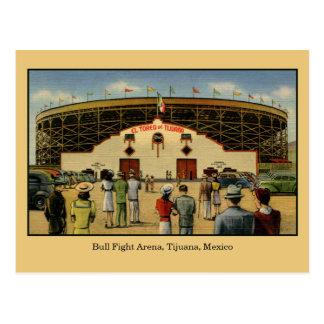 Vintage Bull fight arena Tijuana Mexico Postcard