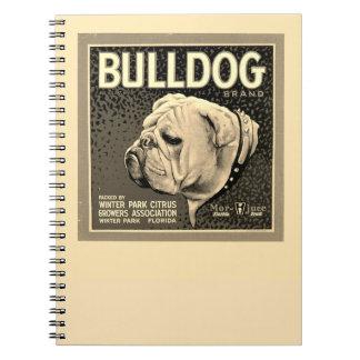 Vintage Bulldog Illustration Spiral Notebook
