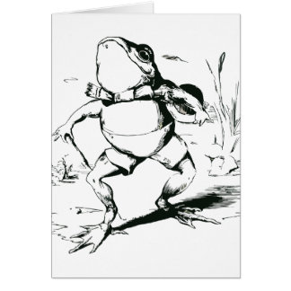 Vintage Bullfrog With Top Hat and Cane Drawing Greeting Card