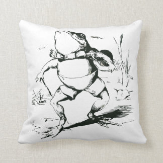 Vintage Bullfrog With Top Hat and Cane Drawing Throw Cushions