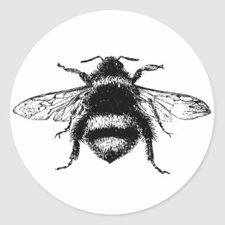 Vintage Bumble bee Round Stickers