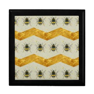 Vintage Bumblebee & Gold Chevron Gift Box