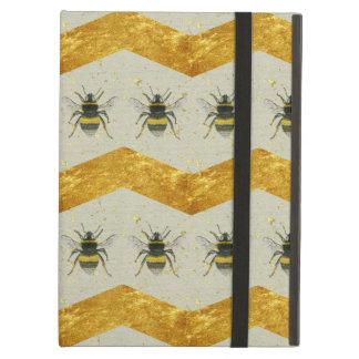 Vintage Bumblebee & Gold Chevron iPad Case