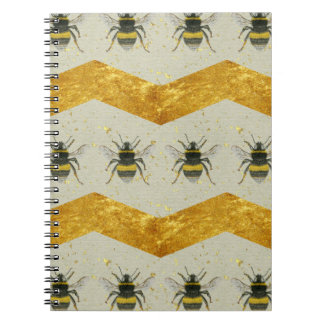 Vintage Bumblebee & Gold Chevron Notebook