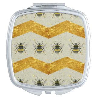 Vintage Bumblebee & Gold Chevron Pocket Mirror Vanity Mirrors