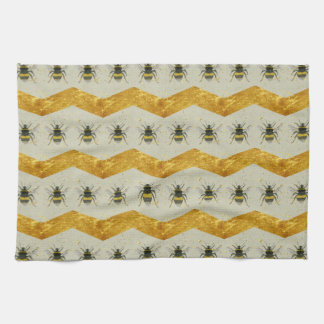 Vintage Bumblebee & Gold Chevron Tea Towel