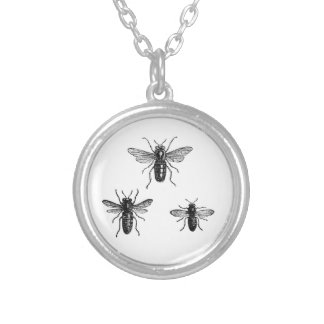 Vintage Bumblebees Silver Plated Necklace